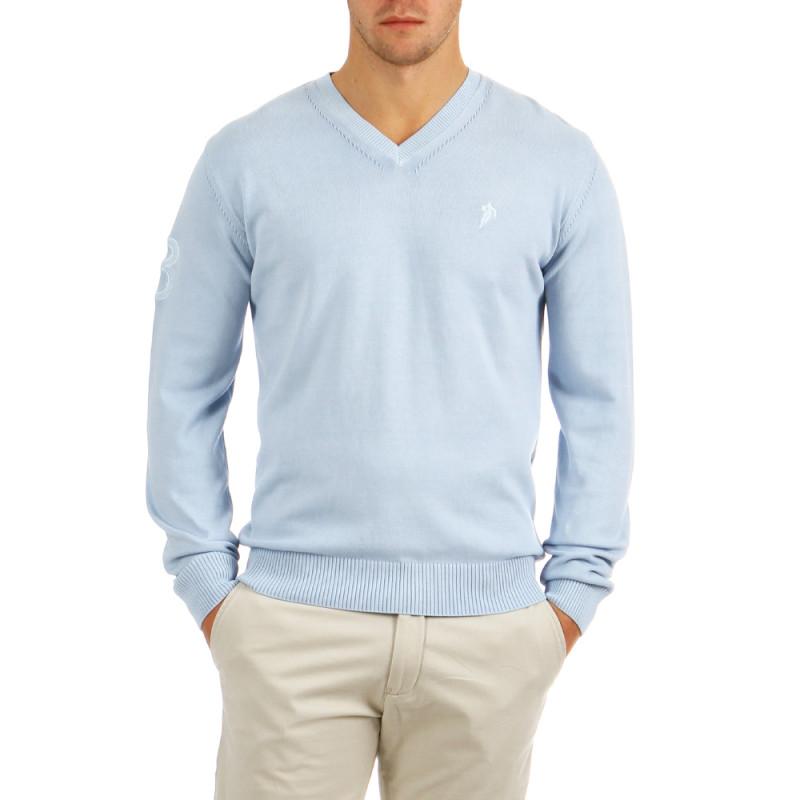 Sky-blue V-neck Pullover