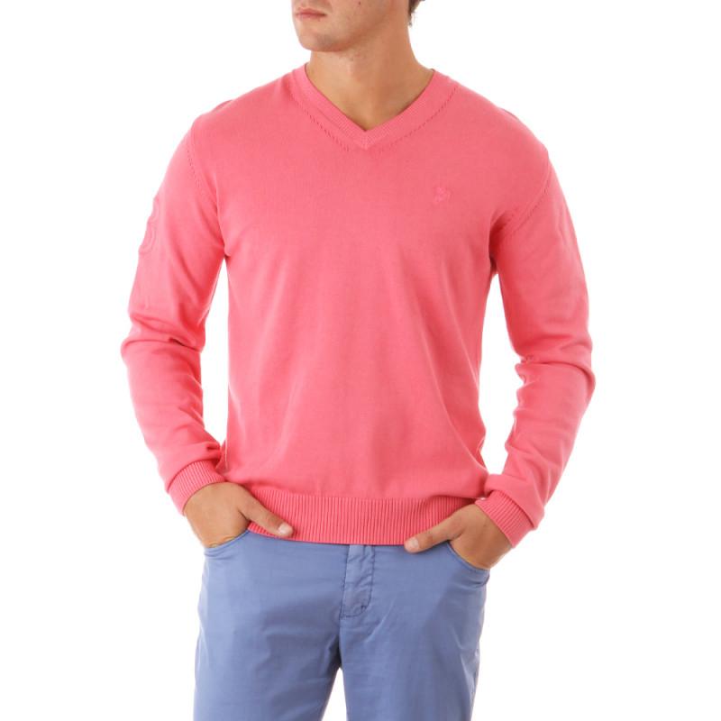 Pink V-neck Pullover