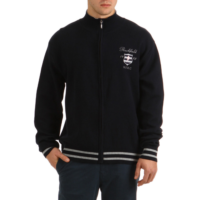 Hooded Zip College Navy Blue