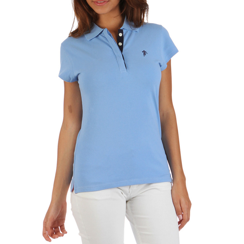 Women Essentials sky blue polo shirt