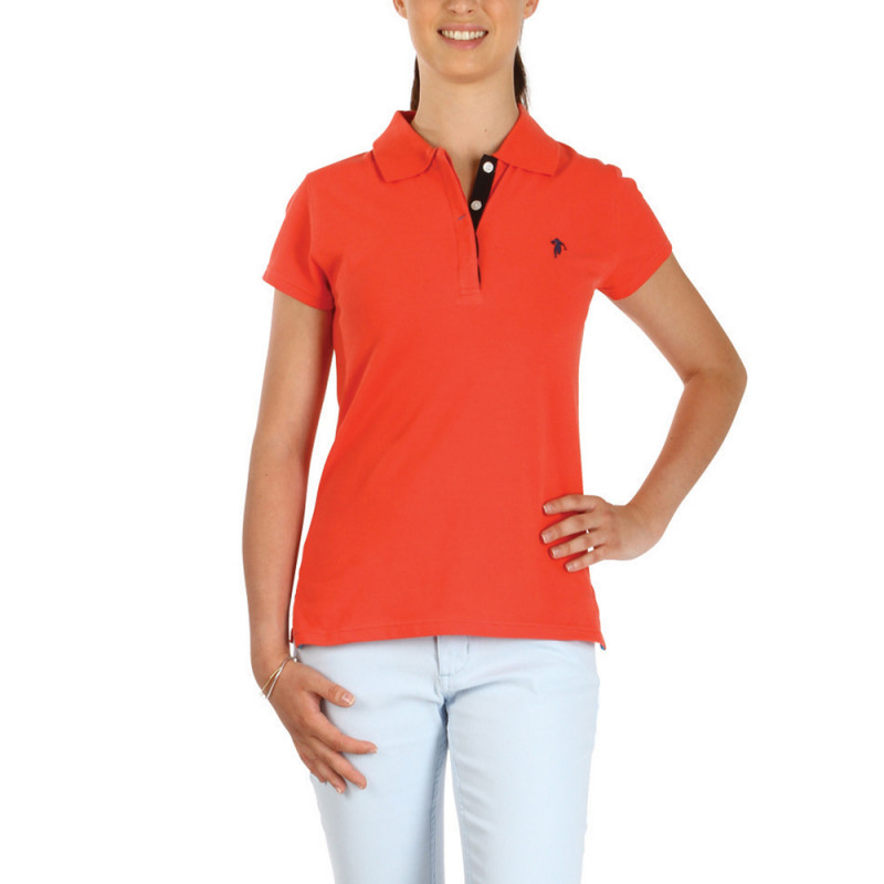 Women Essentials coral polo shirt