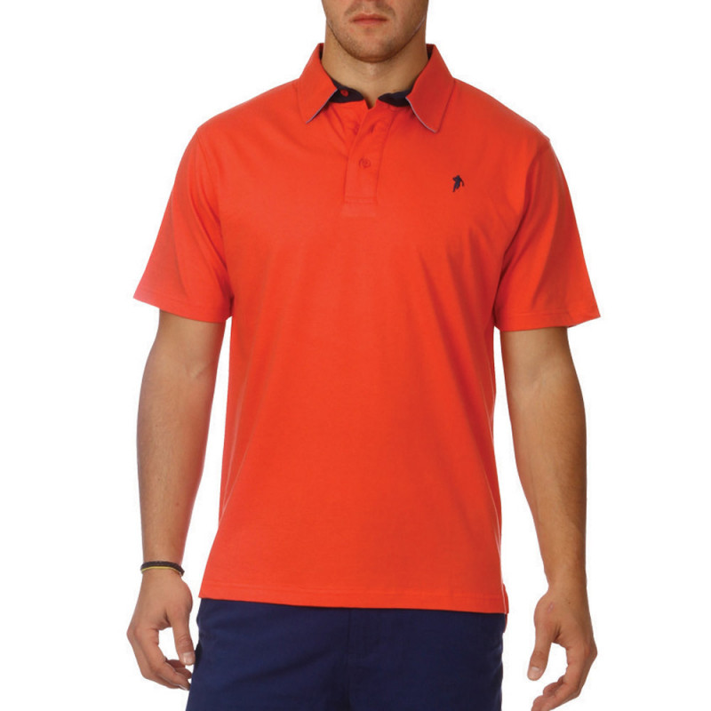 Basic coral jersey polo shirt