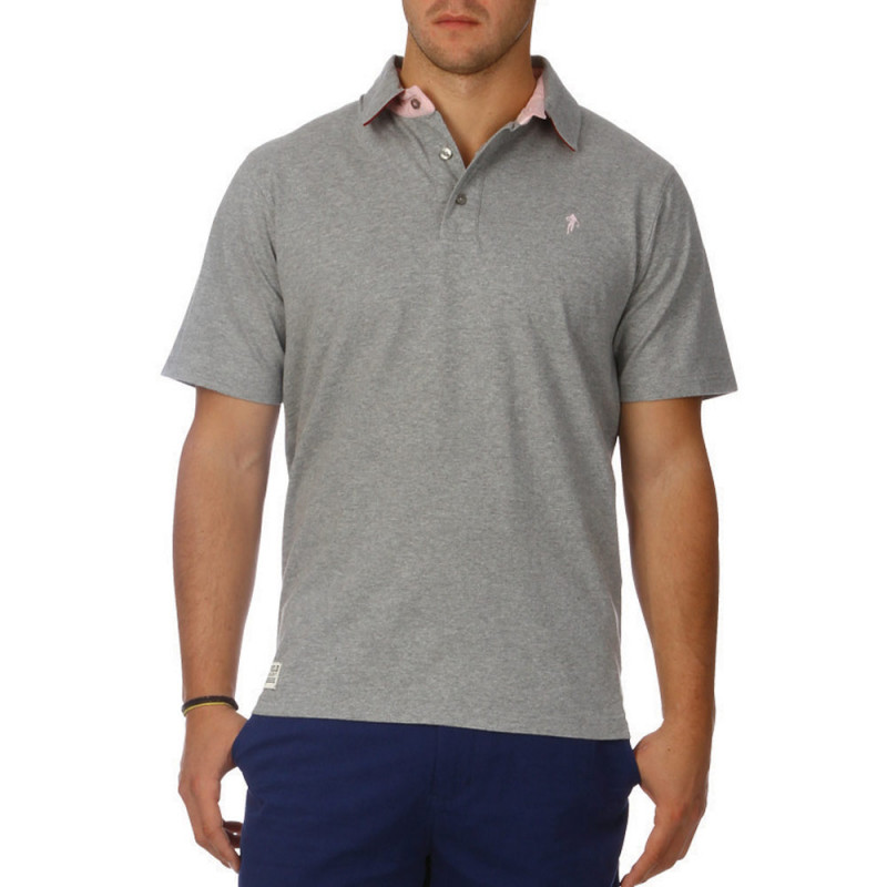 Basic grey jersey polo shirt