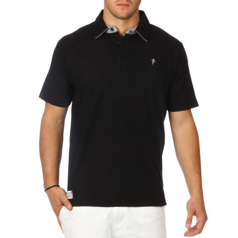 Basic black jersey polo shirt