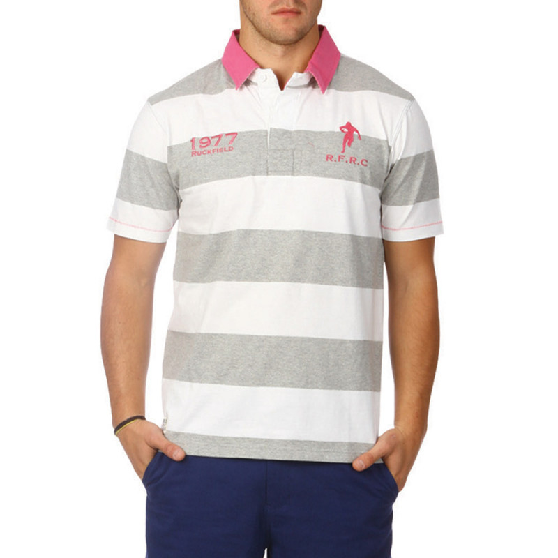 Raspberry striped polo shirt