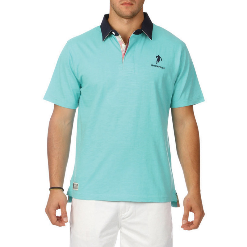 Green slubbed cotton polo shirt