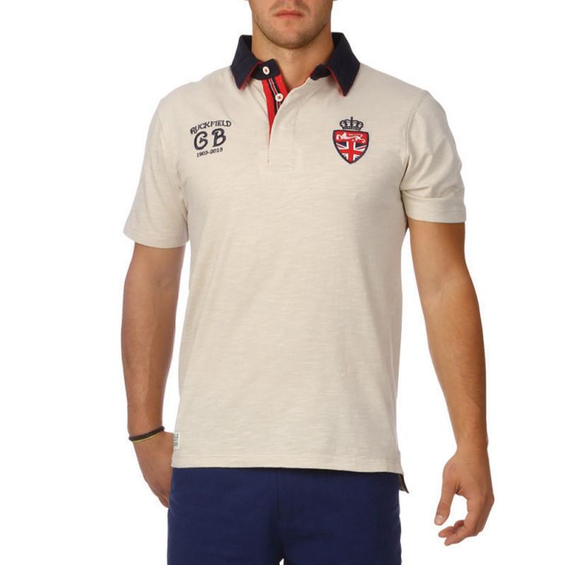 Oxford slubbed cotton polo shirt