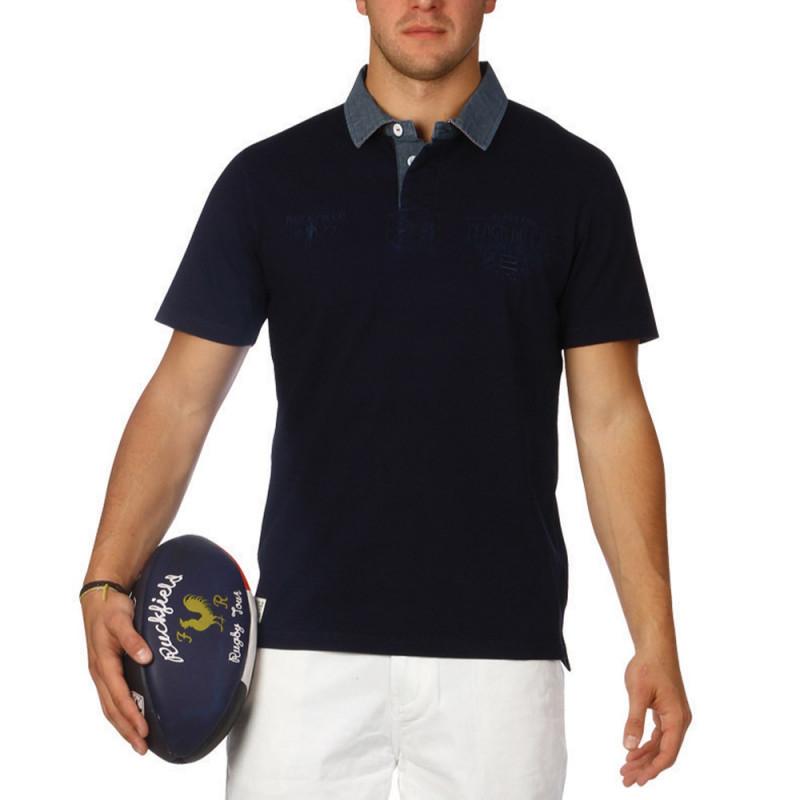 Navy blue denim Beach polo shirt