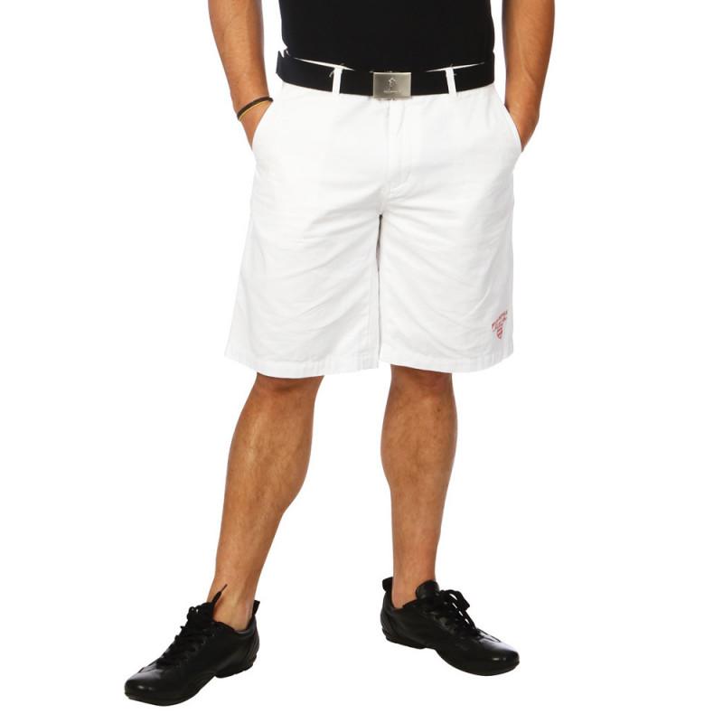 White gingham Bermuda shorts