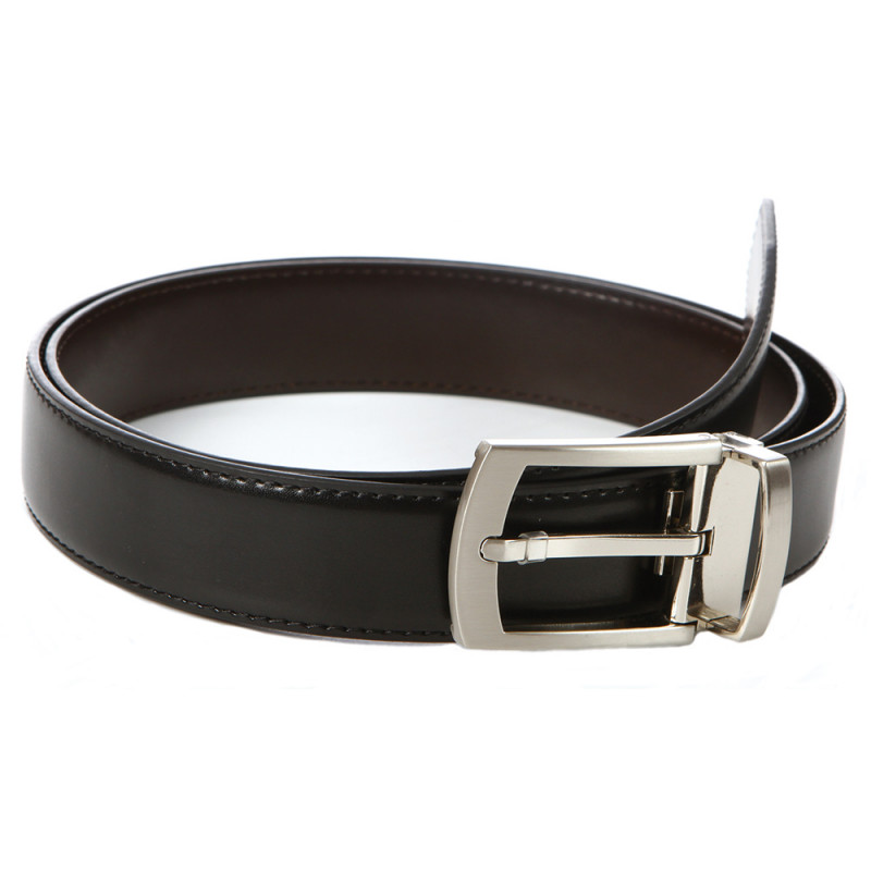 Reversible black leather belt