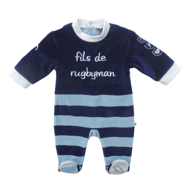 Rugbyman baby sleepsuit