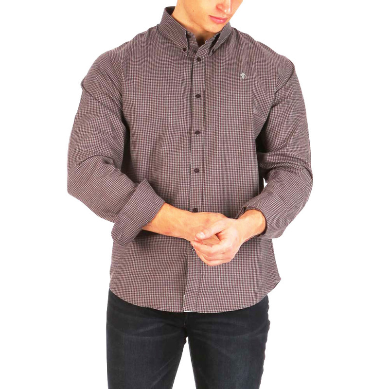 Ruckfield burgundy checked shirt