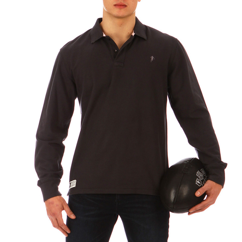 Charcoal Grey Casual Rugby Polo Shirt