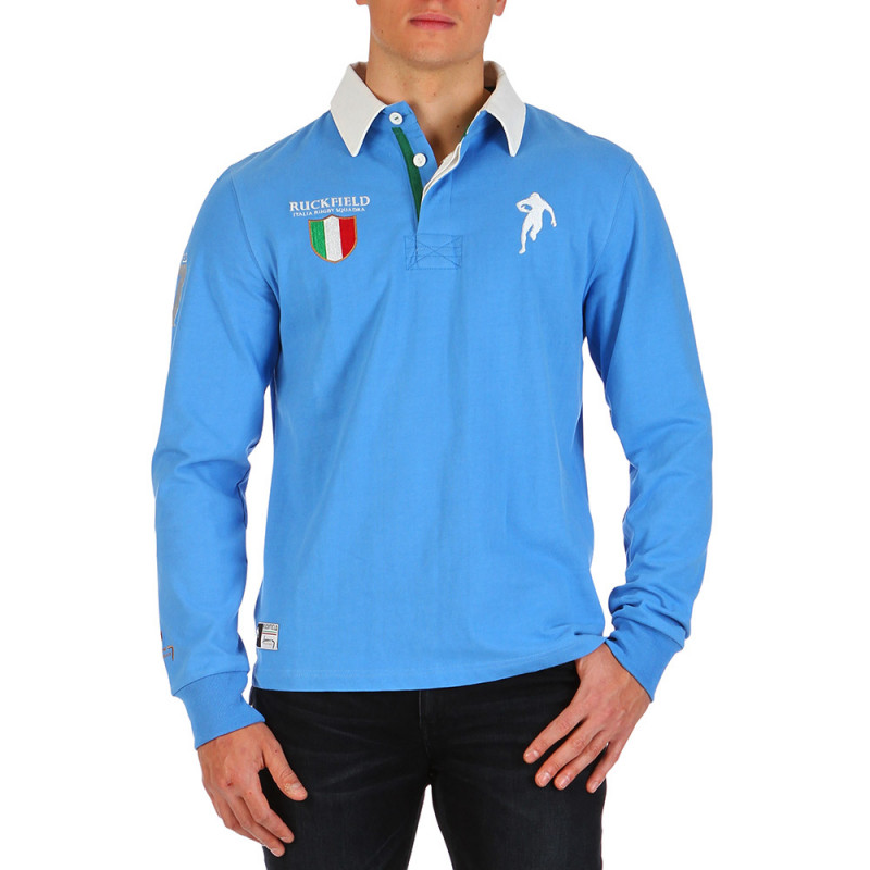 Sky blue Italia Rugby polo shirt