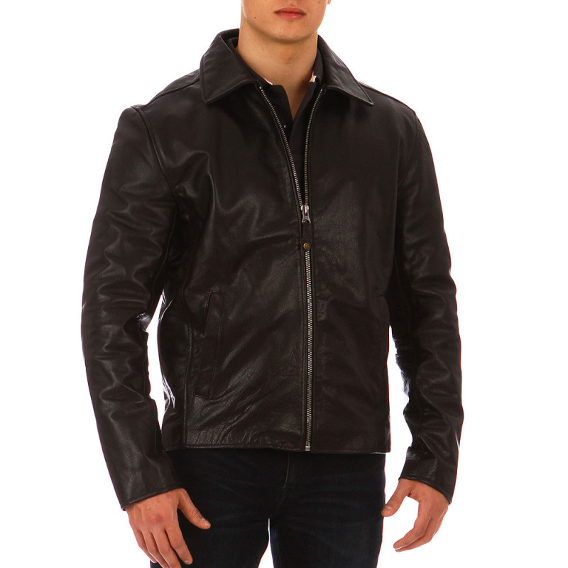 Brown Essential Rugby cow's leather jacket
