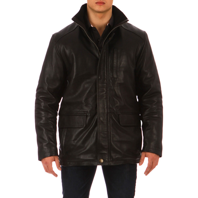 Black Essential Rugby lamb's leather jacket