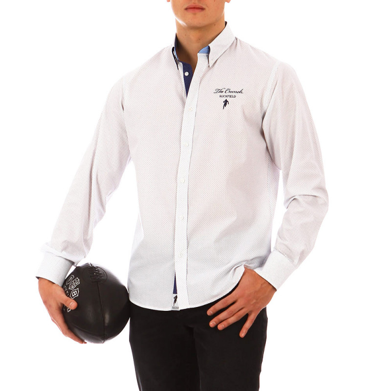 The Crunch white shirt with blue motif