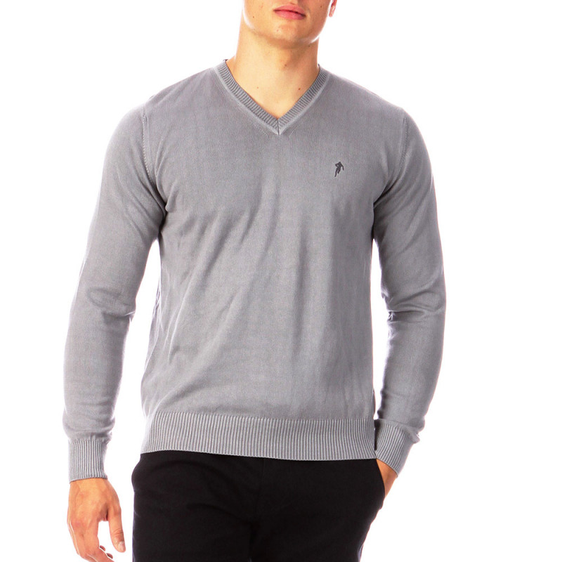 Grey Essential Rugby V-neck jumper