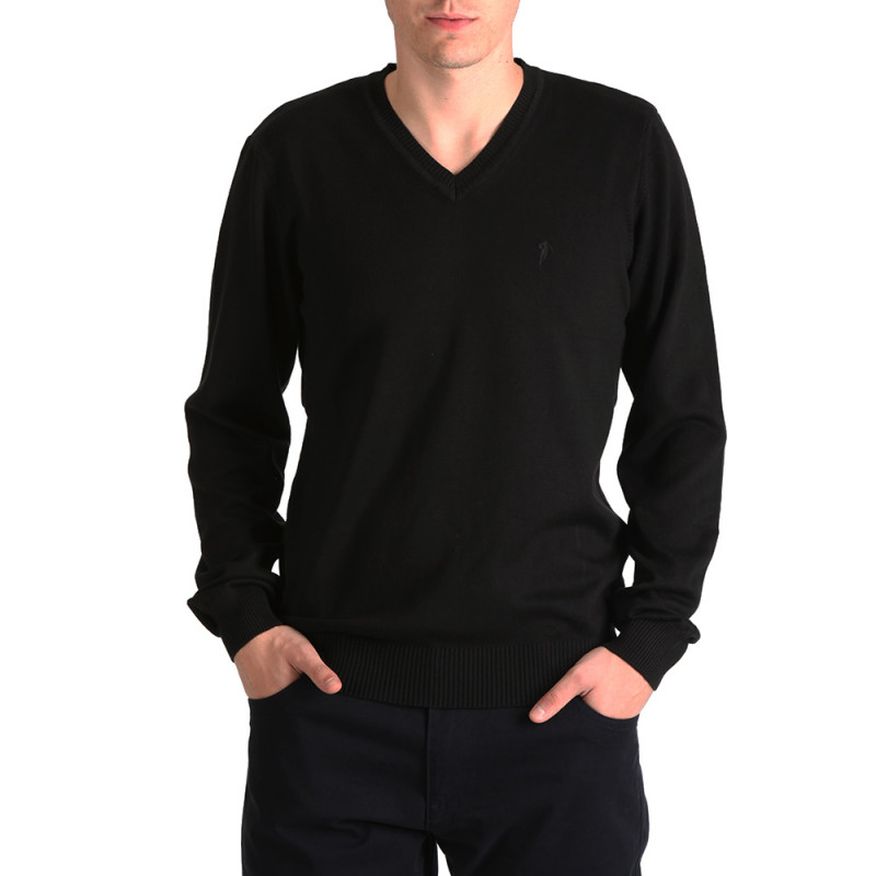Black Essential Rugby V-neck jumper