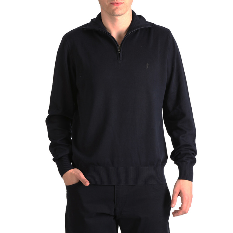 Blue Essential Rugby jumper with a zip-up collar