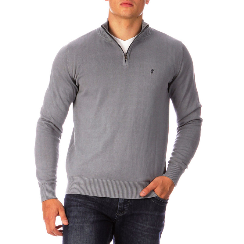 Grey Essential Rugby jumper with a zip-up collar