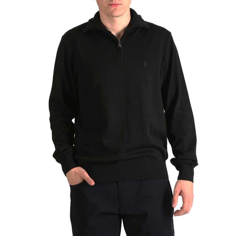 Black Essential Rugby jumper with a zip-up collar