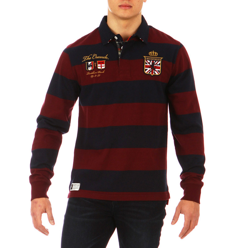 The Crunch striped burgundy polo shirt