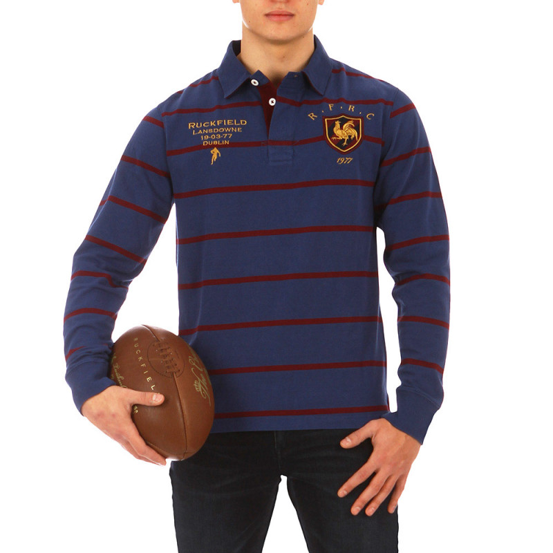 Blue and burgundy striped French Rugby Club polo shirt