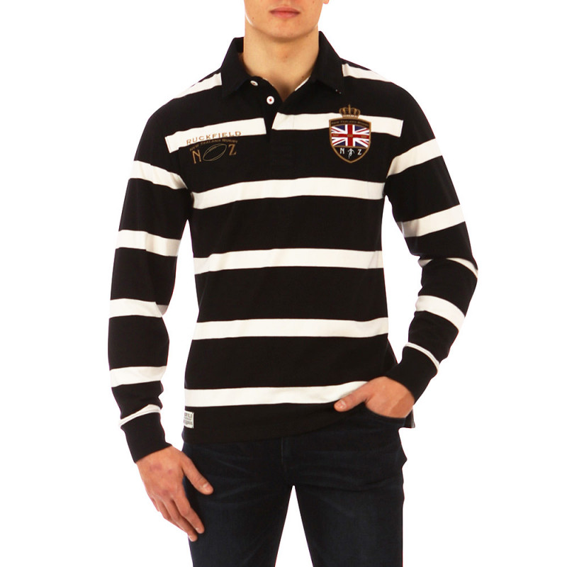 Black striped Test Match polo shirt