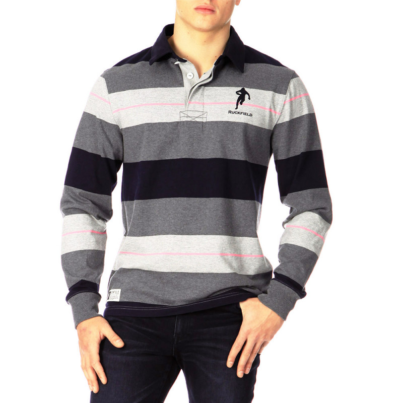Grey striped classic Rugby polo shirt