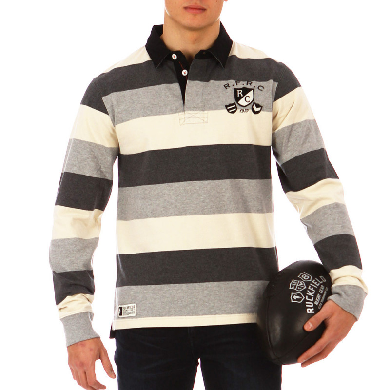Grey striped Modern Rugby polo shirt