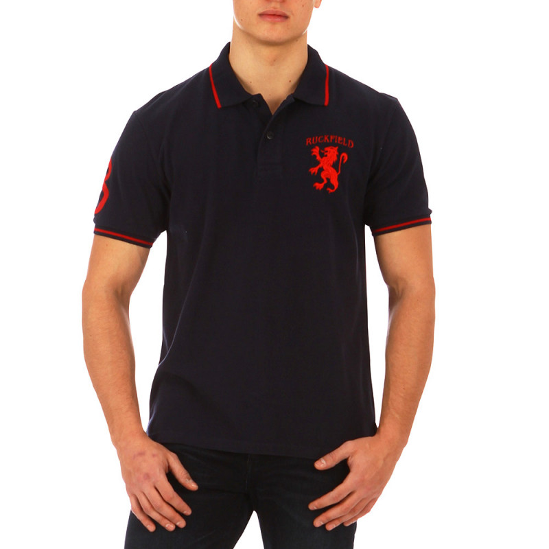 Navy blue French Rugby Club sport polo shirt