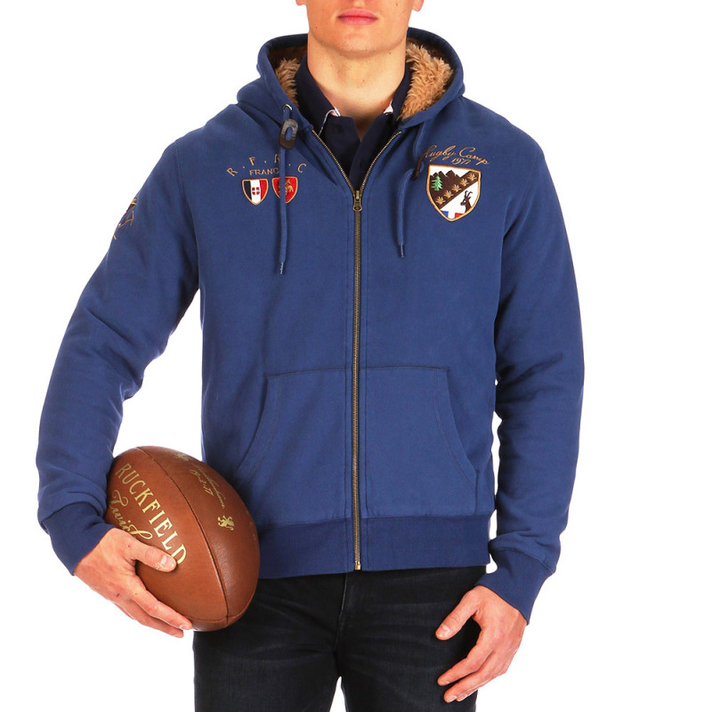 Rugby Winter Camp zip-up hooded fur-lined cardigan