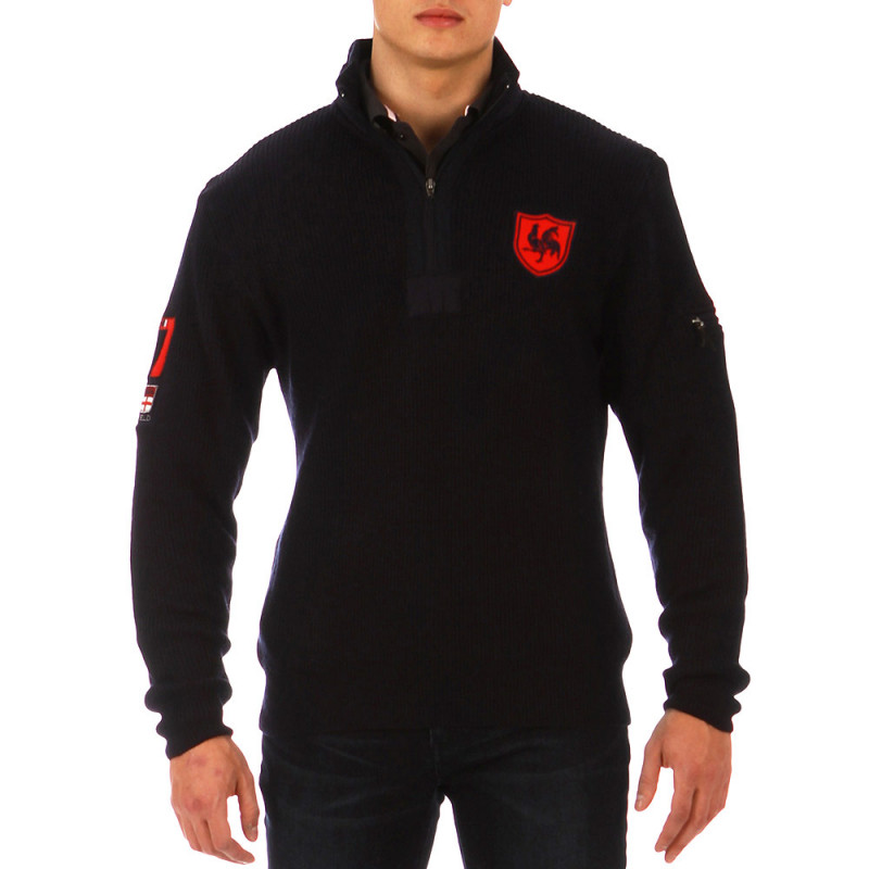 French Rugby Club jumper with zip-up collar