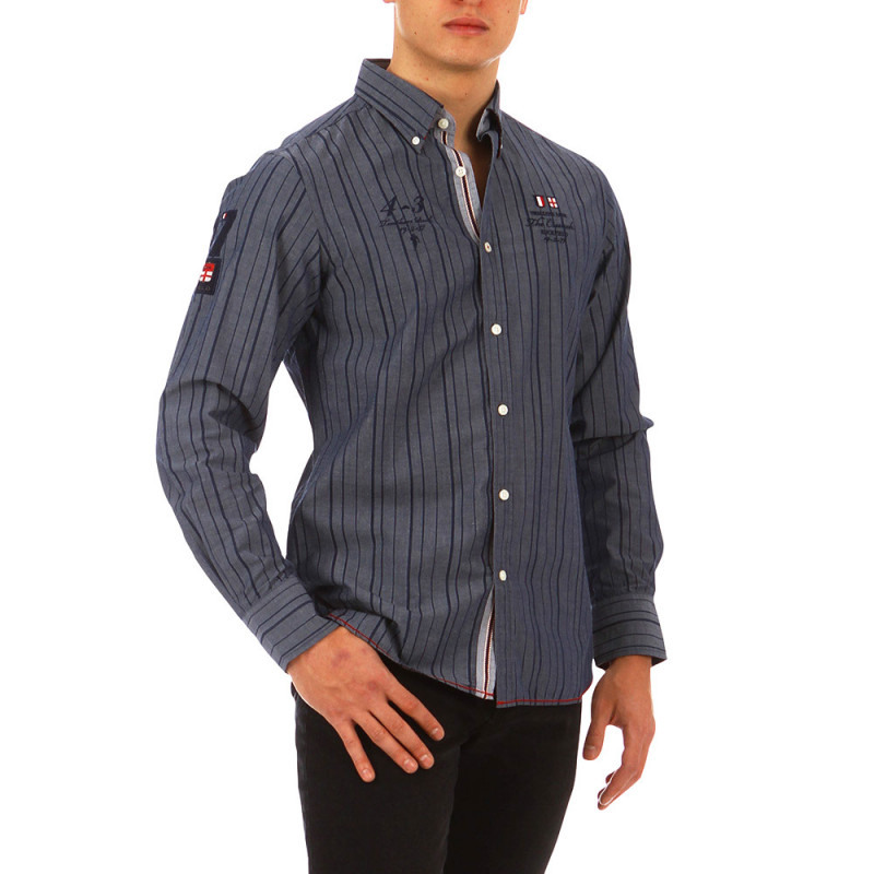The Crunch dark blue striped shirt