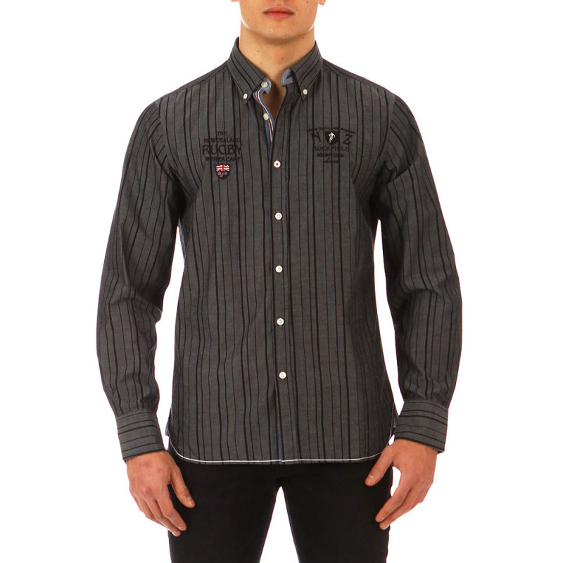 Grey Test Match shirt with black stripes