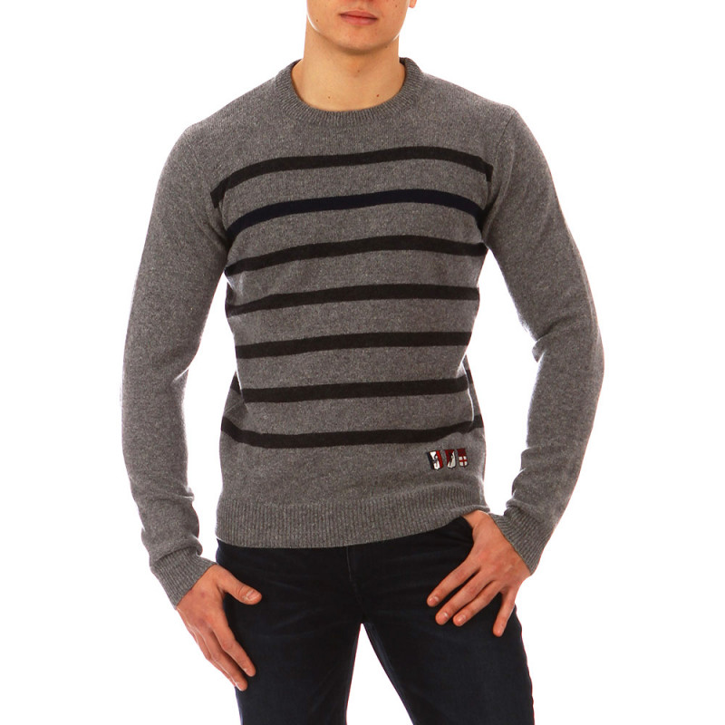 The Crunch navy blue striped jumper
