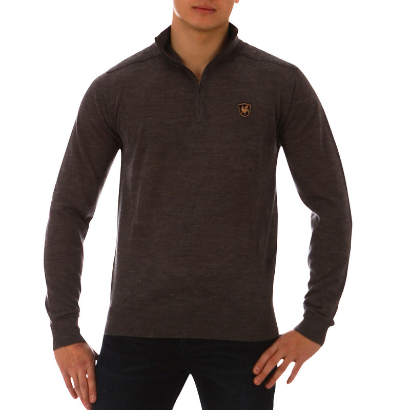 Marl grey French Rugby Club jumper with zip-up collar