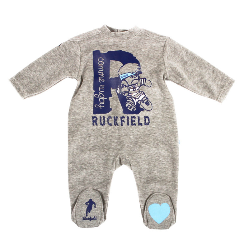 Marl grey Rugby Baby sleepsuit