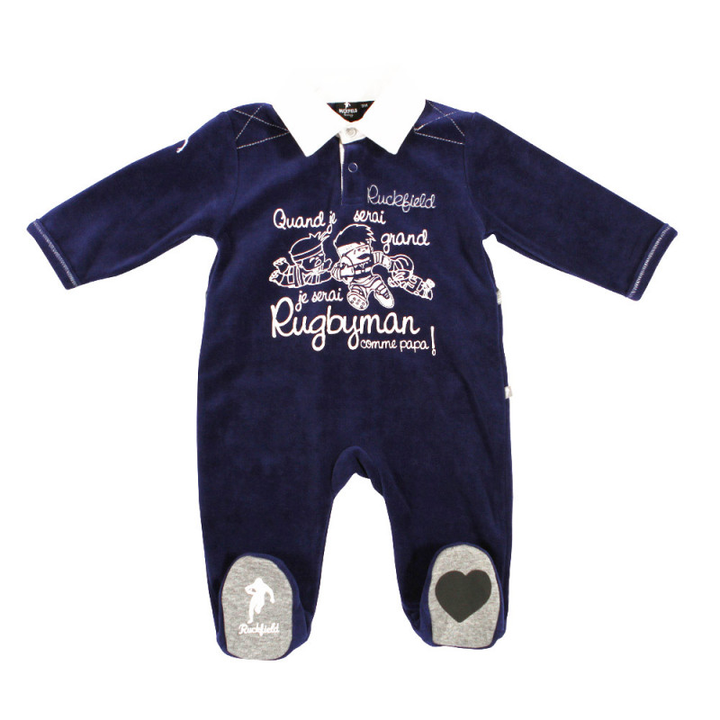 Navy blue Rugby Baby sleepsuit