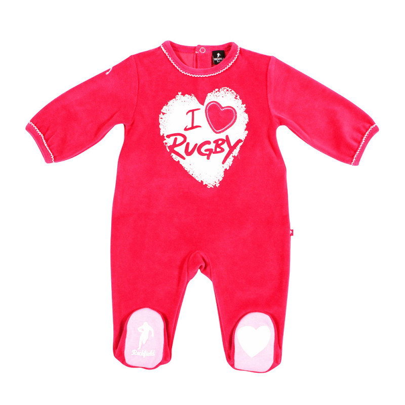 Pink Rugby Baby sleepsuit