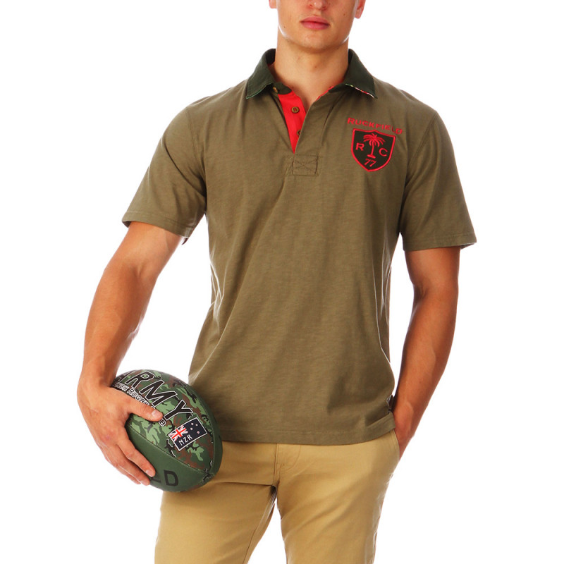 Khaki Hawaii Rugby Polo