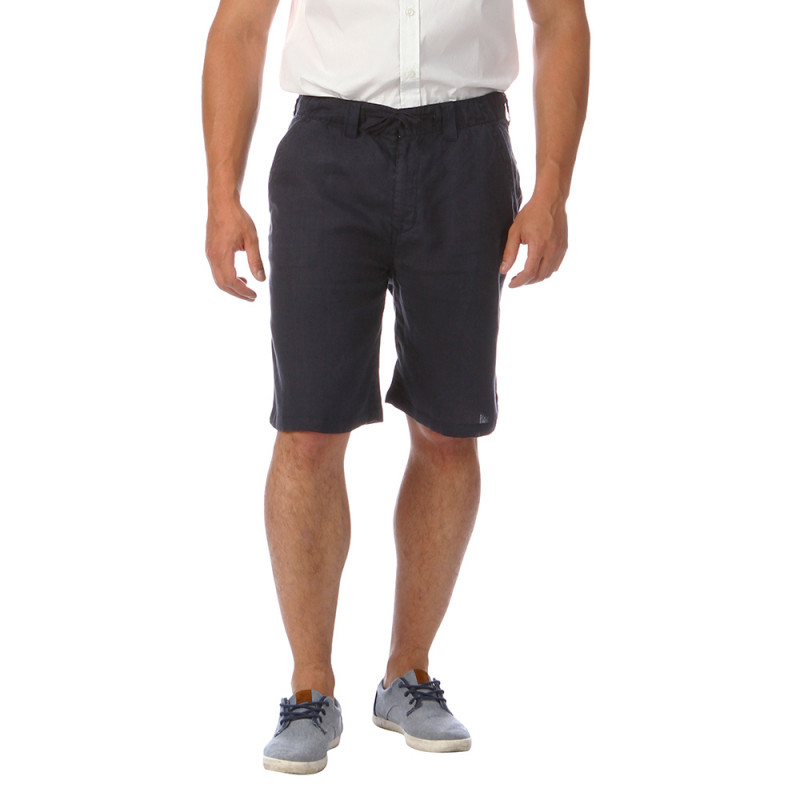 Navy-blue linen Bermuda shorts