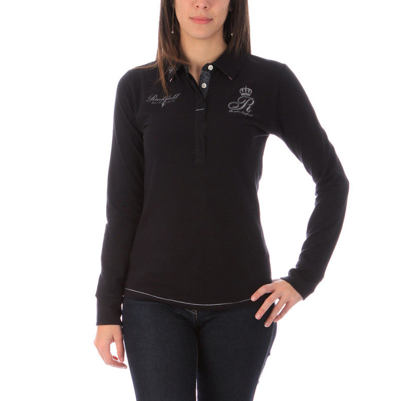 Women's black polo shirt Ruckfield