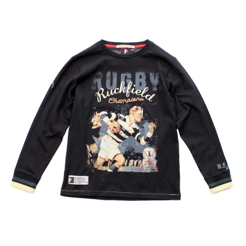 Black vintage rugby T-shirt