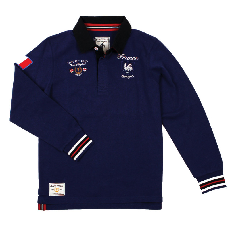Kids' blue rugby polo shirt