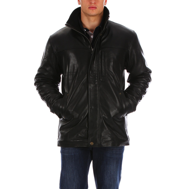 Black leather jacket Rugby