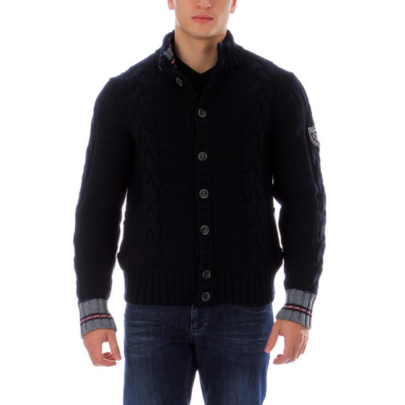 Navy-blue woolen cardigan Rugby