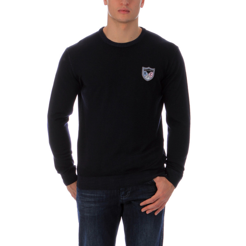 Navy-blue round-neck pullover