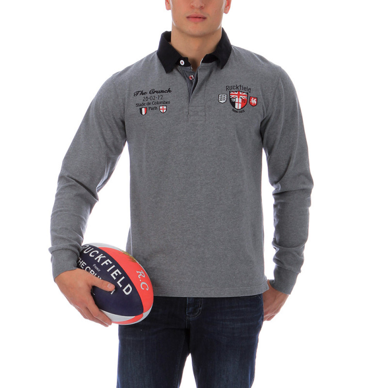 Heather grey rugby polo shirt